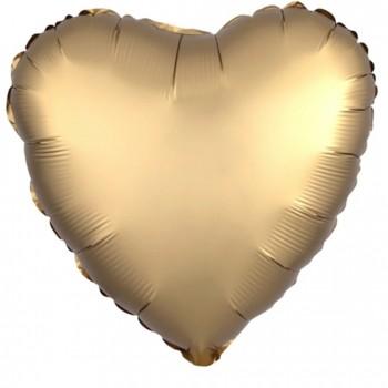 Balon matowy foliowy SERCE złote 45cm