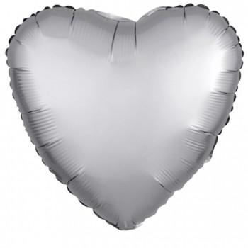 Balon matowy foliowy SERCE srebrne 45cm