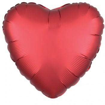Balon matowy foliowy SERCE czerwony 45cm
