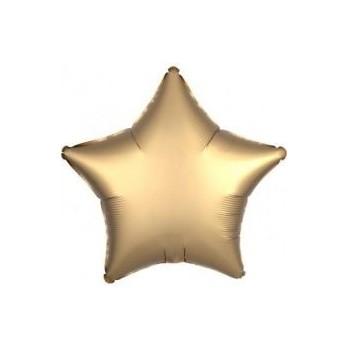 Balon matowy foliowy GWIAZDA złoty 45cm