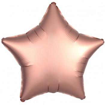 Balon matowy foliowy GWIAZDA różowe złoto 45cm