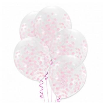 Balony z różowym konfetti 5szt