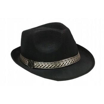 Kapelusz Fedora Al Capone Czarny ze złotą lamówką