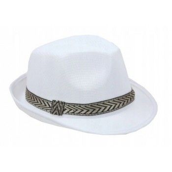 Kapelusz Fedora Al Capone Biały ze złotą lamówką