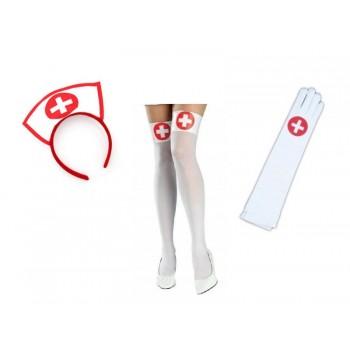 Zestaw pielęgniarki - PIELĘGNIARKA opaska pończochy rękawiczki