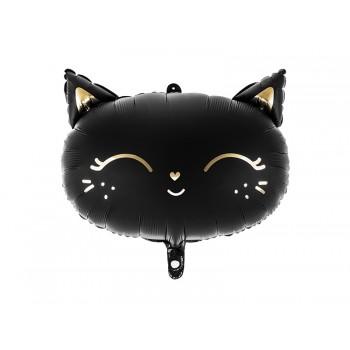 Balon foliowy KOTEK czarny matowy 48cm
