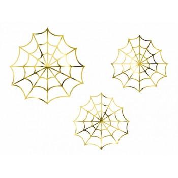 Pajęczyny złote dekoracyjne na Halloween 3szt