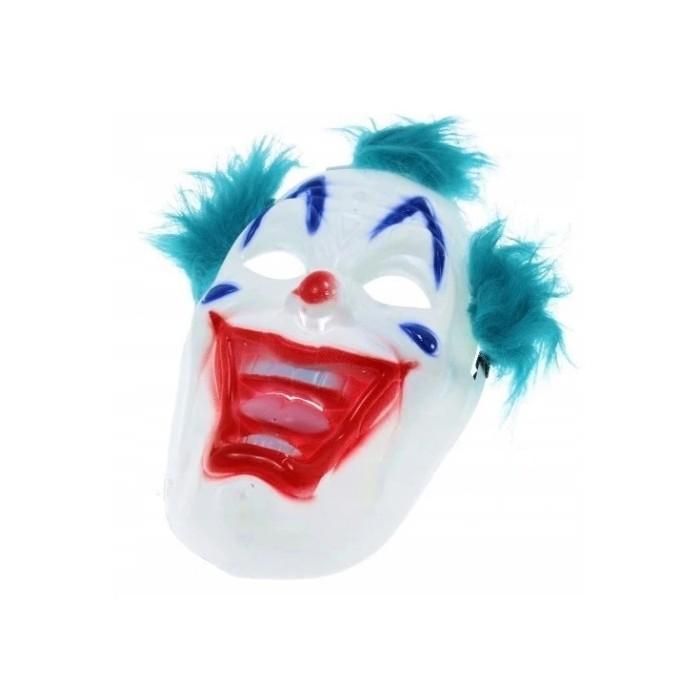 Maska straszny Klaun na Halloween- turkusowe włosy