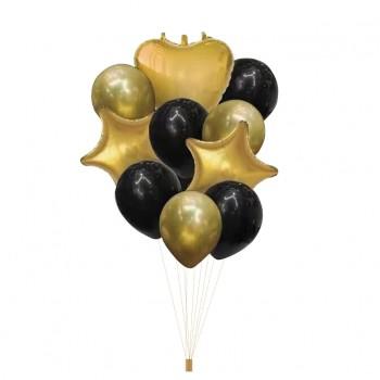 Zestaw balonów CZARNE ZŁOTE  10szt gwiazdki serca
