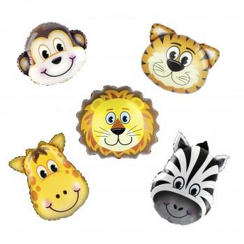 Balony foliowe Zwierzęta Safari 5szt