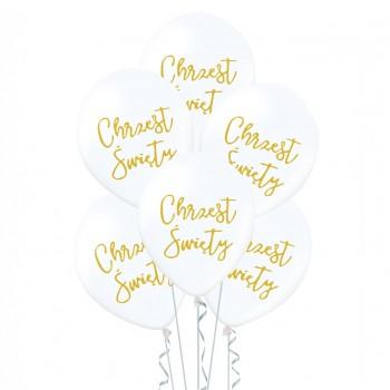 Balony 6szt na CHRZEST ŚWIĘTY dekoracje na chrzciny