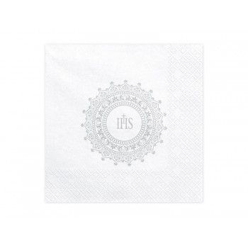 Serwetki Komunia Święta - IHS srebrne