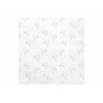 Serwetki Komunia Święta srebrne gołębie