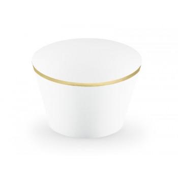 Papilotki na muffinki białe ze złotymi brzegami