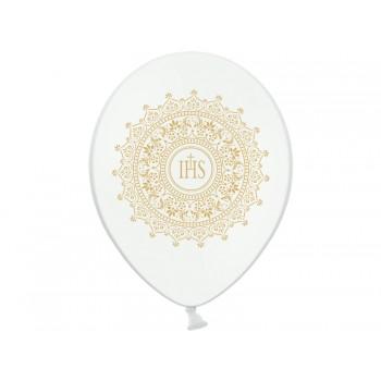 Balon komunijny 30cm IHS biały 1szt