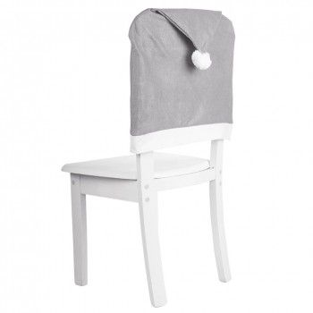 Pokrowiec 1szt na krzesło SZARY czapka Mikołaja