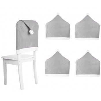 Pokrowce 4szt na krzesło SZARE czapka Mikołaja
