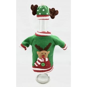Pokrowiec na butelkę ubranko sweterek zielony RENIFER