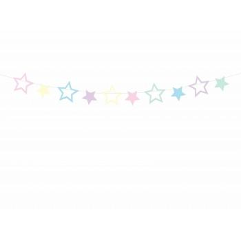 Girlanda papierowa pastelowe Gwiazdki - jednorożec 1,4 m