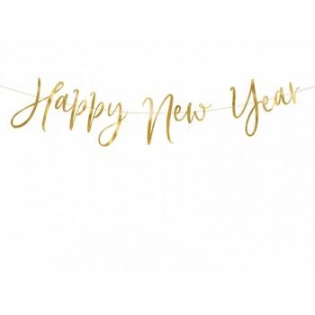 Baner Happy New Year złoty na Sylwestra