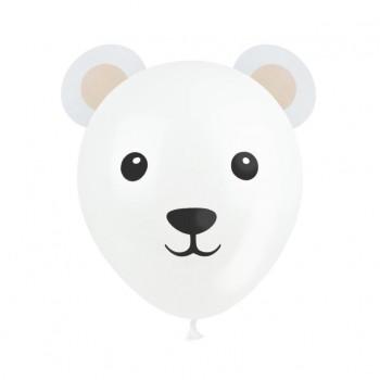 Balony Misie 3szt białe z uszami