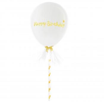 Balon Topper z tiulem mini 12cm Happy Birthday biały