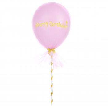 Balon Topper z tiulem mini 12cm Happy Birthday różowy