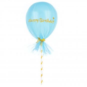 Balon Topper z tiulem mini 12cm Happy Birthday niebieski