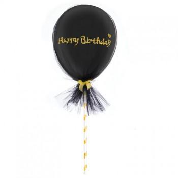 Balon Topper z tiulem mini 12cm Happy Birthday czarny