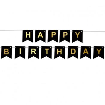 Baner HAPPY BIRTHDAY urodzinowy czarny