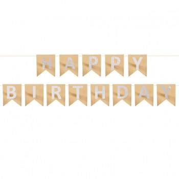 Baner HAPPY BIRTHDAY urodzinowy różowe złoto