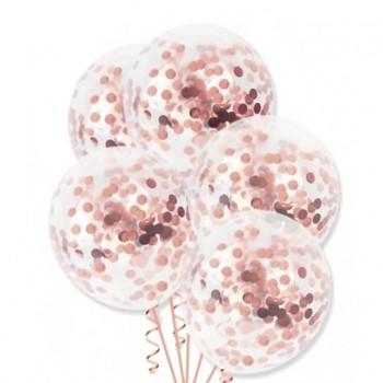 Zestaw balonów z konfetti 4szt różowe złoto