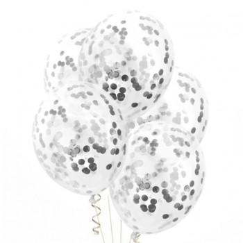 Zestaw balonów ze srebrnym konfetti 4szt