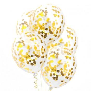 Balon 1szt ze złotym konfetti