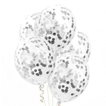 Balon 1szt ze srebrnym konfetti