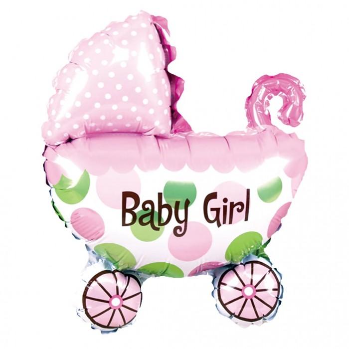 Balon wózek 80cm różowy dla dziewczynki