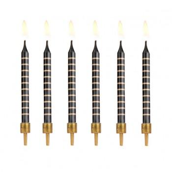 Świeczki urodzinowe 12szt czarne w złote paski 6,5cm