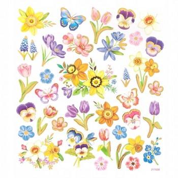 Naklejki WIOSNA 35szt kwiatki motylki