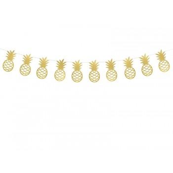 Girlanda papierowa złota metalizowana Ananasy Aloha