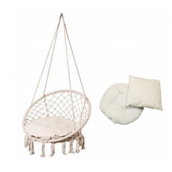 Fotel Wiszący Boho Biały Huśtawka + poduszki