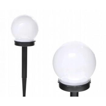 Lampa Solarna 10cm kula ogrodowa biała led