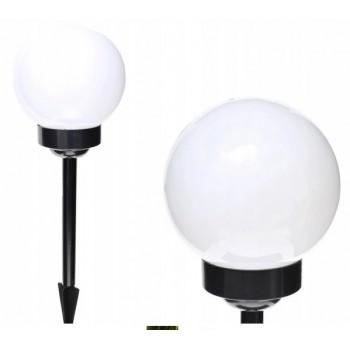 Lampa Solarna 15cm kula ogrodowa biała led
