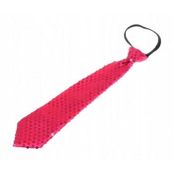 Krawat Cekinowy RÓŻOWY FUKSJA imprezowy