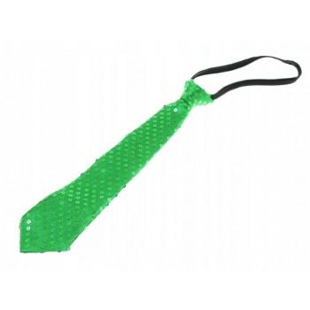Krawat Cekinowy ZIELONY imprezowy