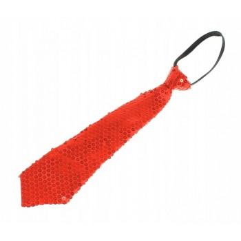 Krawat Cekinowy CZERWONY imprezowy