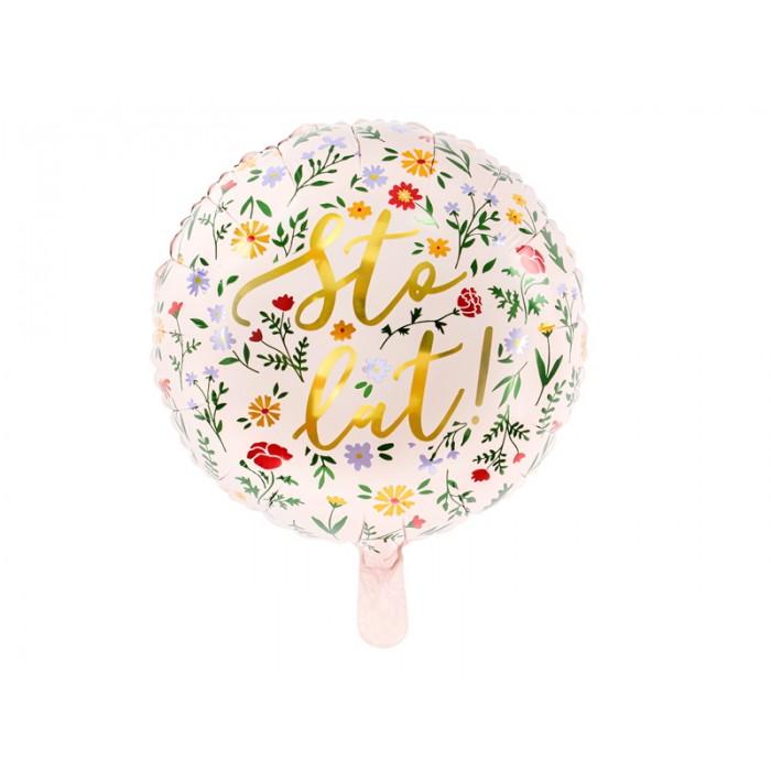 Balon napis Sto Lat! w Kwiaty jasny róż