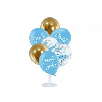 Balony na CHRZEST ŚWIĘTY na stojaku NIEBIESKIE