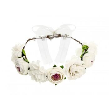 Wianek z kwiatami w kolorze białym 17cm