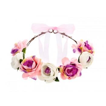 Wianek z kwiatami w kolorze białym i różowym 17cm