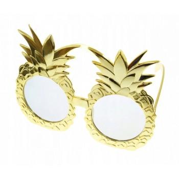 Okulary ANANASY hawajskie aloha złote